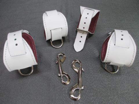 Snow White Leather, Chianti Suede Lined Restraint Cuff Set (For Wrist and Ankles)